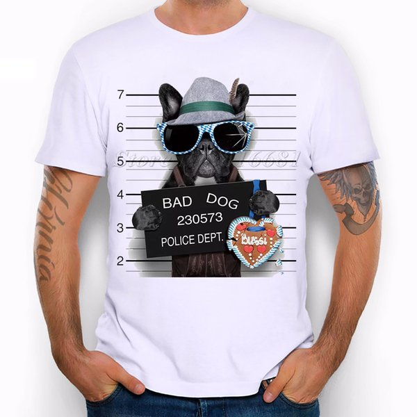 Summer Fashion French Bulldog Design T Shirt Men's High Quality Dog Tops Hipster Tees Pa890 Size S-3XL