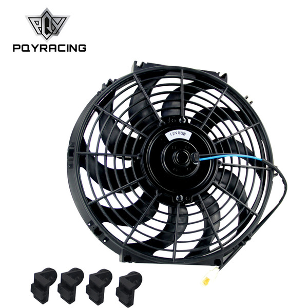 """top popular PQY - 12 Inch Universal 12V 80W Slim Reversible Electric Radiator AUTO FAN Push Pull With mounting kit Type S 12"""" PQY-FAN12 2021"""