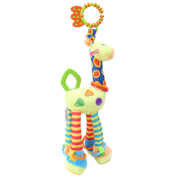 Plush Infant Baby Development Soft Giraffe Animal Handbells Rattles Handle Toys Hot Selling With Teether Baby Toy 2017