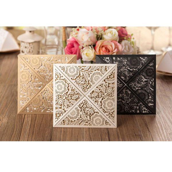 50 Stücke Gold Weiß Schwarz Design Rustikale Ehe Hochzeitseinladung Laser Cut Einladungskarte Umschlag Dichtungen Event Party Supplies
