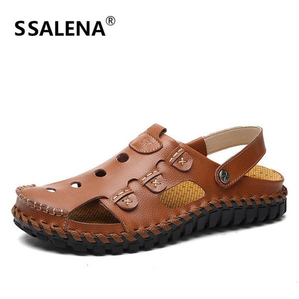 Man Non-Slip Flats Leather Sandals Male Summer Beach Cut Out Mesh Sneakers Mens Breathable Handmade Casual Sandals AA51621
