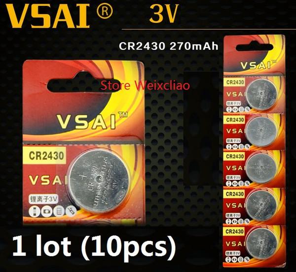 10pcs 1 lot CR2430 3V lithium li ion button cell battery CR 2430 3 Volt li-ion coin batteries VSAI Free Shipping