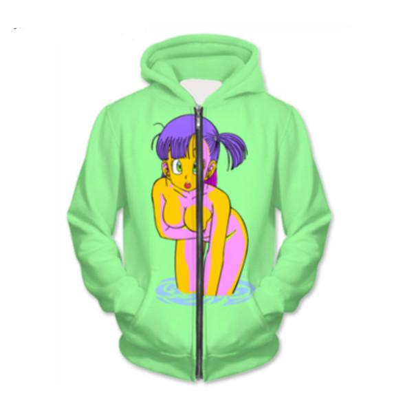 New Fashion Zipper Hoodie Dragon Ball Z Cartoon Girl 3D Print Zip-Up Hoodies Psychedelic Sweatshirt Men/Women Harajuku Outfits Tops YY042