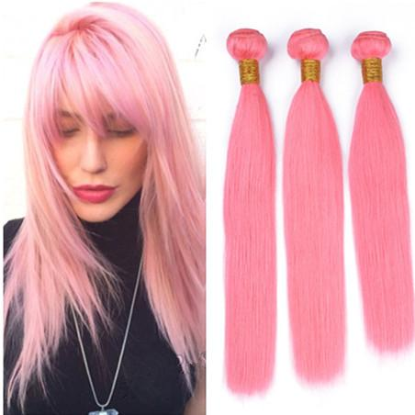 Virgin Brazilian Light Pink Human Hair Weaves 3Pcs Silky Straight Cheap Virgin Remy Hair Wefts Pure Pink Human Hair Bundles Wholesale