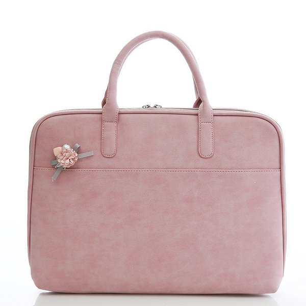 Laptop Handbag 11.6 12 13.3 14 15.4 Inch Korean Style PU Leather Messenger Bag Women Fashion Briefcase for Macbook Air Pro HP