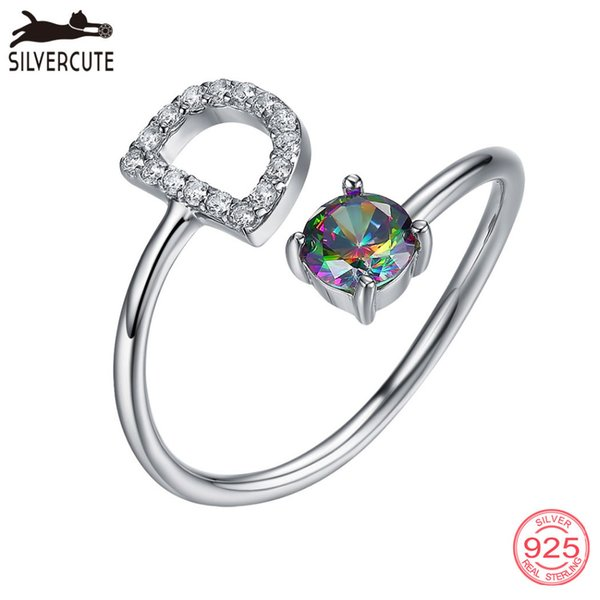 Silvercute Rainbow Topaz Gemstone Initial D Rings For Women 100% Natural 925 Sterling Silver Name Letter Fine Jewelry SCR6050B