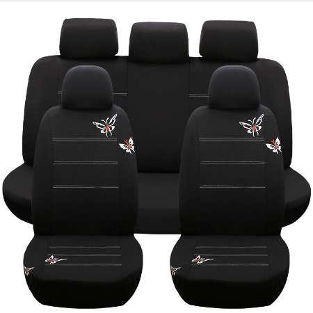 Autositzbezüge airbag Weiß schmetterling Universal Fit Vorne Hinten Sitz Voll Cover Innen Zubehör Neu für kia vaz fiat palio