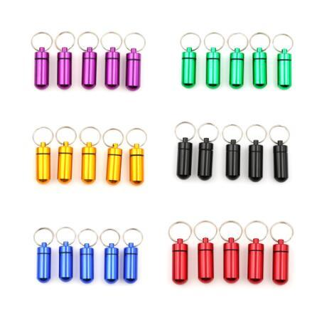 Mini Waterproof Aluminum Pill Box Case Bottle Holder Container Keychain Box Health Care Packing Bottle