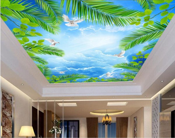 3d wallpaper custom photo Blue sky white clouds coconut tree seabird ceiling murals home decoration living room wallpaper for walls 3 d