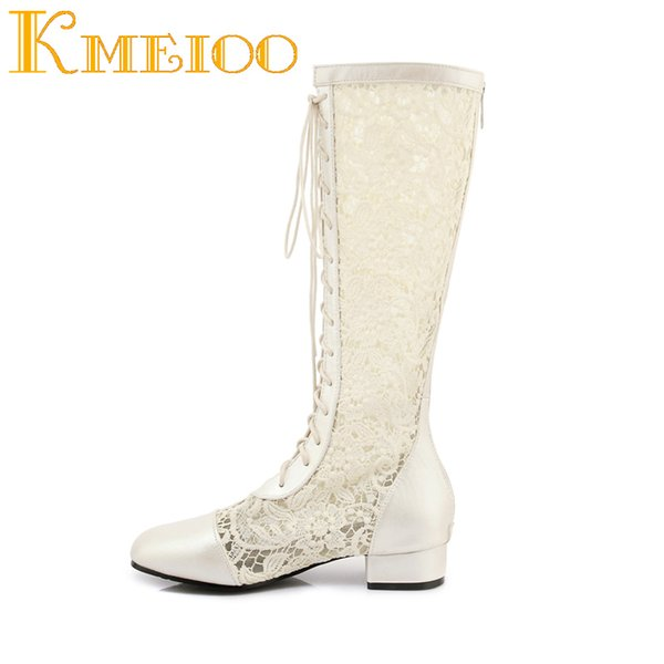 Kmeioo Mujer Hollow Bordar Bota Bordar Zapatos de mujer Punta cuadrada Bombas de tacón cuadrado Cremallera Zapatos con cordones Zapato de mujer de media pierna