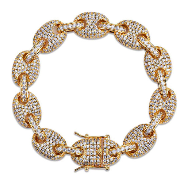 12mm Cuba Chain For Men Bling Bling Cubic Zirconia Jewelry 18K Gold Plated Ice Out Bracelet Brand Hip Hop Chains