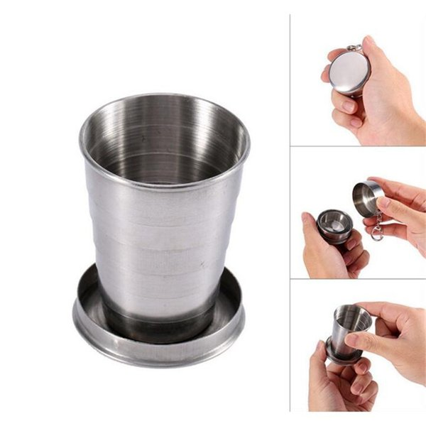 Products Wholesale Telescopic Collapsible Stainless Steel Shot Glass Key Ring in Gift Box Travel Tool Outdoor Sports cup