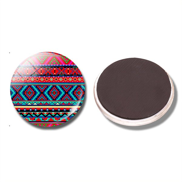 Boho Pink 30MM Fridge Magnet Ethnic Print Mexican Art Print Glass Cabochon Magnetic Refrigerator Stickers Note Holder Home Decor