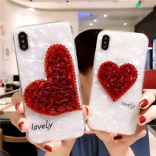 Luxury DIY Handmade Love Heart Bling Crystal Diamond Conque For iPhone 8plus X 8 7 6 6S Plus Shell Back Conque Telefon Kilifi