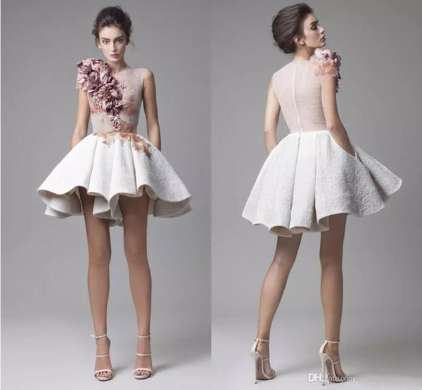 Krikor Jabotian 2018 Magic Show Sample Stylish Evening Dresses Cap Sleeves 3D Flowers Lace White Short Prom Dresses Cocktail Party Dresses