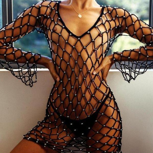 561425c2ede Mesh Solid Bikini Dress Twinkling Mesh Cover Up Long Sleeve Beach Dress  Crochet Handmade Cover Ups Nets Beach Wear Sexy Bodysuit