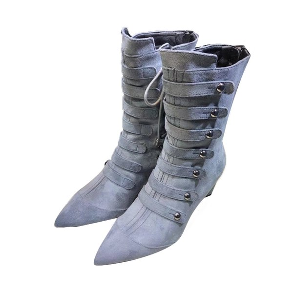 New belt buckle short boots women high heel martin boots cross tied pointed toe ladies shoes kid suede ankle boots for women