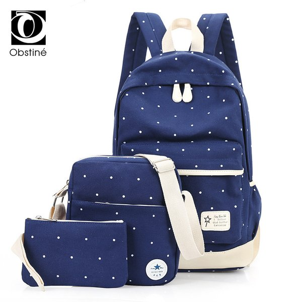 2019 Fashion Youth Fashion 3Pcs Canvas Backpack Set for Teenage Girls 14 Inch Laptop Backpacks for Women Large Dot Printing Bagpack Female