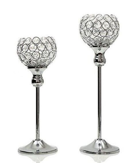 bougeoir en métal argenté avec des cristaux. candélabres de mariage / décoration de pièce maîtresse, 1 jeu = chandelier de 2 pcs