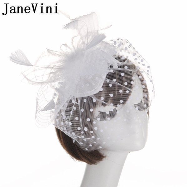 wholesale Vintage Birdcage Net Wedding Hats Black Red Bridal Fascinator White Bride Face Veils Feather Head Flowers with Hairpin