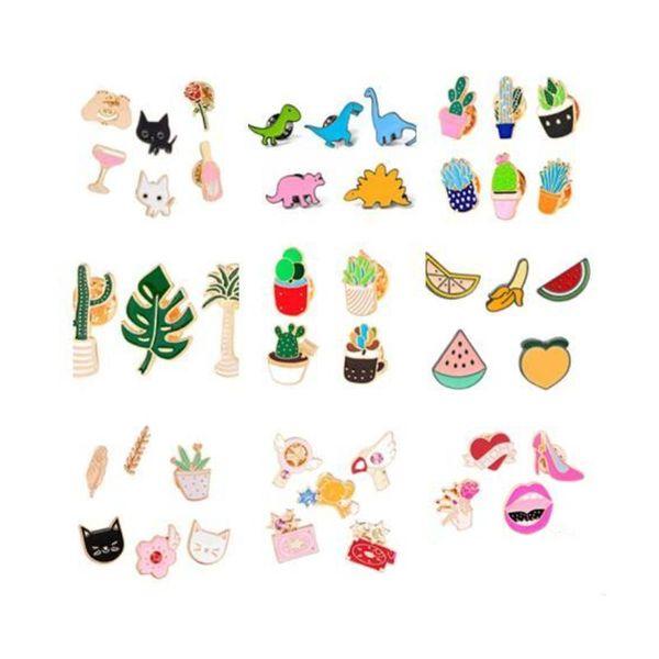106 Estilos De Dibujos Animados Pernos de Solapa Conjunto Insignia Collar De Potted Broche Para Las Mujeres Insignias Esmalte De Cactus Pin Broches Decorativos De Tela joyería