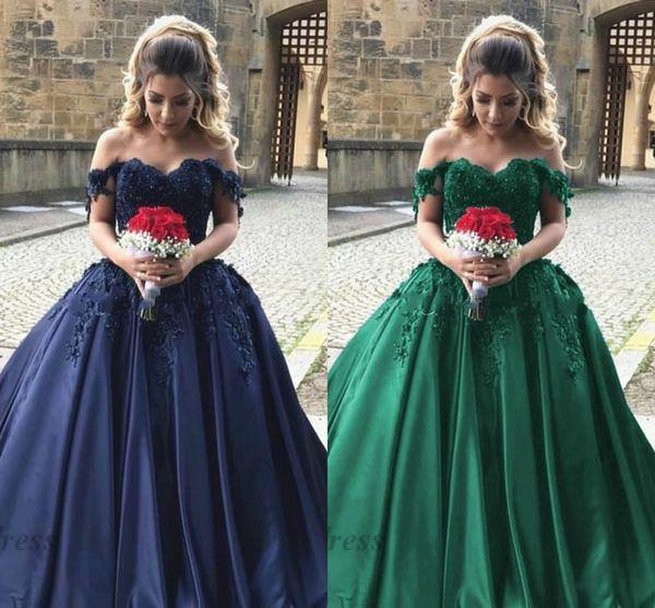 2018 Elegant Evening Dresses Off the Shoulder Tops Lace Appliques Satin A Line Floor Length Draped Beautiful Engagement Dresses Evening Gown