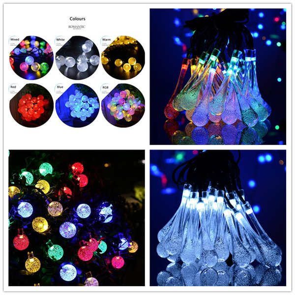 21ft 30 Led Crystal Ball Water Drop Solar Powered Globe Fairy Lights 8 Working Effect For Outdoor Garden Christmas Decoration Holiday Lights Outside