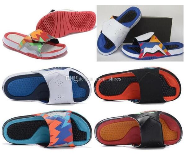 Alta calidad 7 Hydro zapatillas hombres mujeres 7 s negro blanco azul diapositivas zapatillas de playa de verano sandalias de moda casual con caja de zapatos