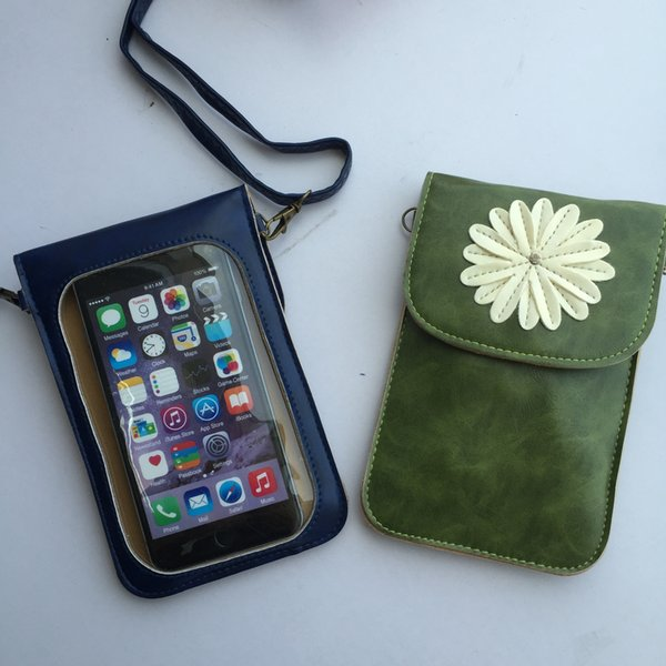 PU Leather Clear PVC Touch Screen Phone Wallet Case Daisy Pouch Crossbody Handbag Iphone Organizer Cover Holder Card Pocket Purse