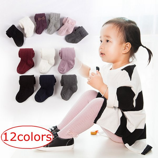 Ins Fashion 0-8Years Baby Girls braids Jacquard Bow Pantyhose Baby tights Infant Cotton Tights Kids Cute leggings stocking 12colors 35izes