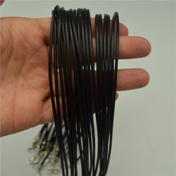 50 stücke 1,5mm / 2mm 48 cm Länge Einstellbar Schwarz Halskette Korea Wachs Seil Schnur String für DIY Schmuckherstellung