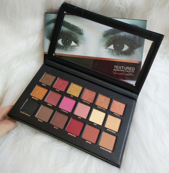 best selling 18 Colors Eyeshadow Palette Rose Gold Textured Palette Makeup Eye shadow HU DE Beauty Palette Matte Shimmer A676