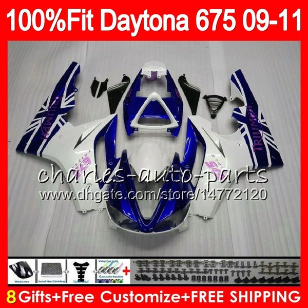 Injection For Triumph Daytona 675 09 10 11 12 Bodywork 107HM.2 Pearl White Daytona-675 Daytona675 Daytona 675 2009 2010 2011 2012 Fairing