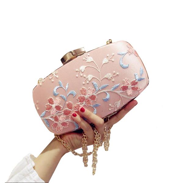 NEUE rosa Spitze Stickerei Blume Frauen Kleine Geldbörse Tag Abend Handtaschen Hochzeit Braut Tasche Kette Umhängetasche für Damen