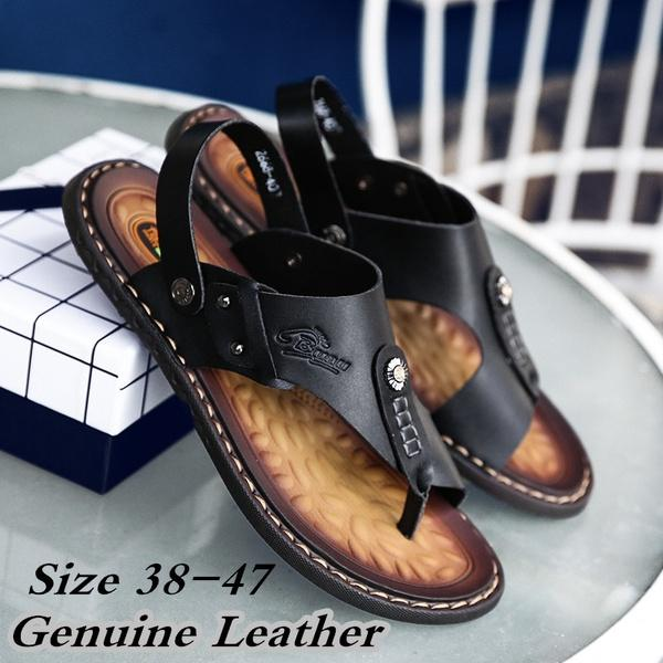 Plus Size 38-47 2018 New Men's Summer Genuine Leather Sandals Beach Slippers Casual Shoes Flip-flops Open Toe Breathable Sandals Loafers