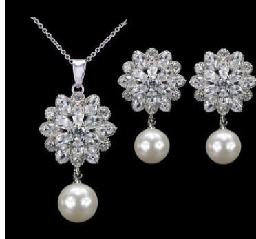 wonderful natural pearl diamond flower lady's necklace earings set (31) wrdwe