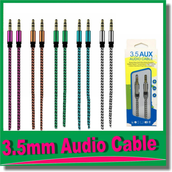 top popular 3.5mm Auxiliary AUX Extension Audio Cable Unbroken Metal Fabric Braiede Male Stereo cord 1M for Samsung MP3 Speaker Tablet PC OM-R4 2021