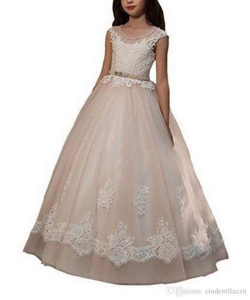 Blumenmädchenkleider für Hochzeiten Prinzessin Little Girl Formelle Kleider Jewel Neck Lace Top Tüllrock Teenager Kleid mit rosa Perlen Sash