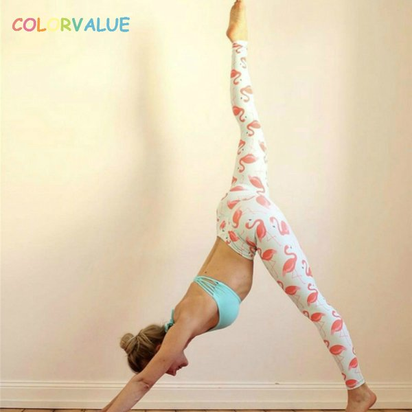 Colorvalue Flamingo Printed Yoga Leggings Women Child Hip Up Elatic Running Jogger Tights Anti-sweat Exercise Workout Leggings