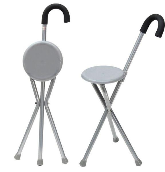 Folding Aluminium Tripod Cane Hiking Chair Portable Walking Stick With Plastic Seat Non Slip Feet Walking Stick Outdoor Tool
