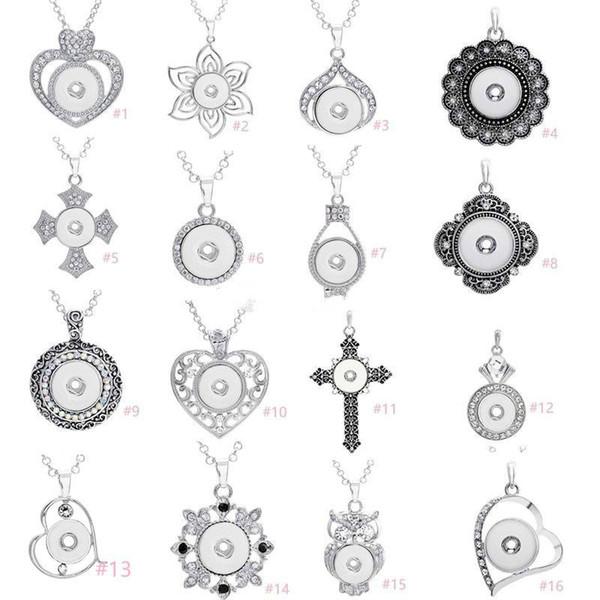 7 estilos Noosa surtido jengibre 18 mm botones a presión Chunk Charms Crystal Heart Multi collares pendientes 316L joyería de cadena de acero inoxidable