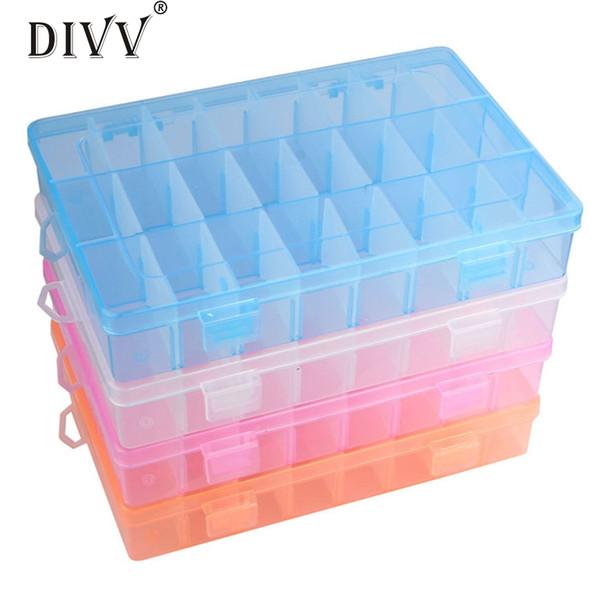 Adjustable Plastic Storage Box organizer 24 Compartment Women Jewelry Earring storage Box Case