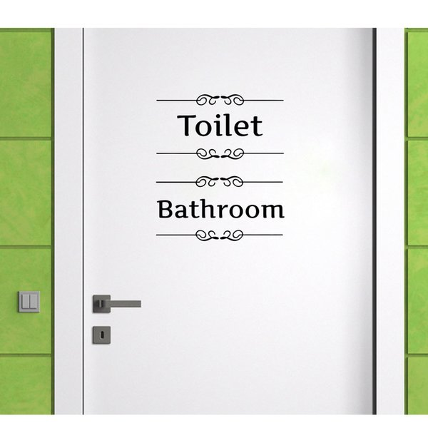 Toilet Stickers Spanish Wall Stickers Bathroom Decor Sign Toilet Door Vinyl Decal Transfer Vintage Decoration Quote Wall Art
