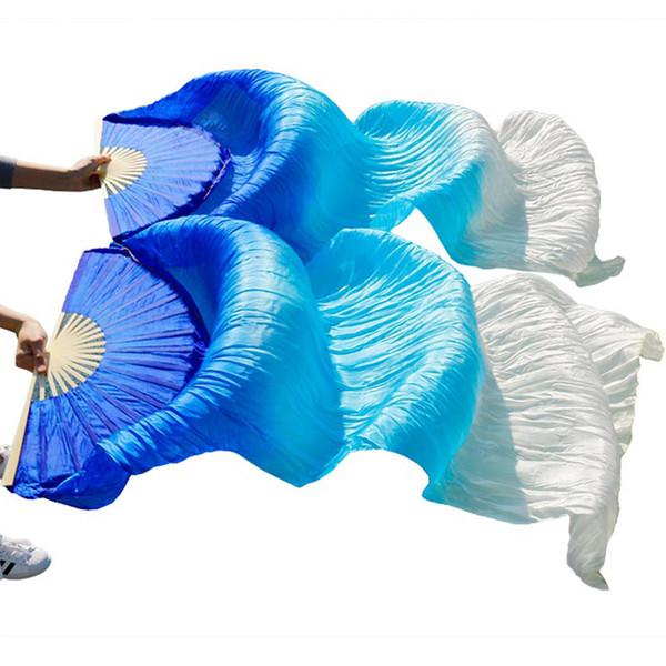 top popular veil high quality 100% Chinese silk veils 1Pair belly dance fans bamboo ribs long silk fans 180*90cm handmade dance props 2019
