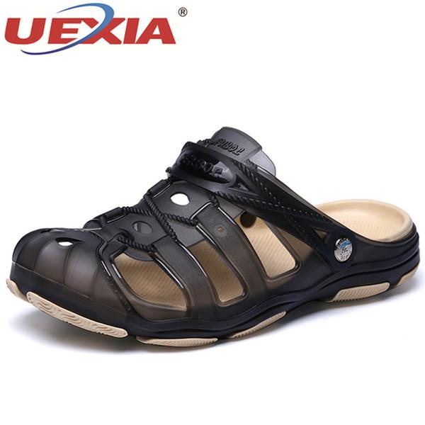 UEXIA Men Sandals Summer Style Men Beach Shoes Hollow Slippers Hole Breathable Flip Flops Non slip Sandals Clogs Outside