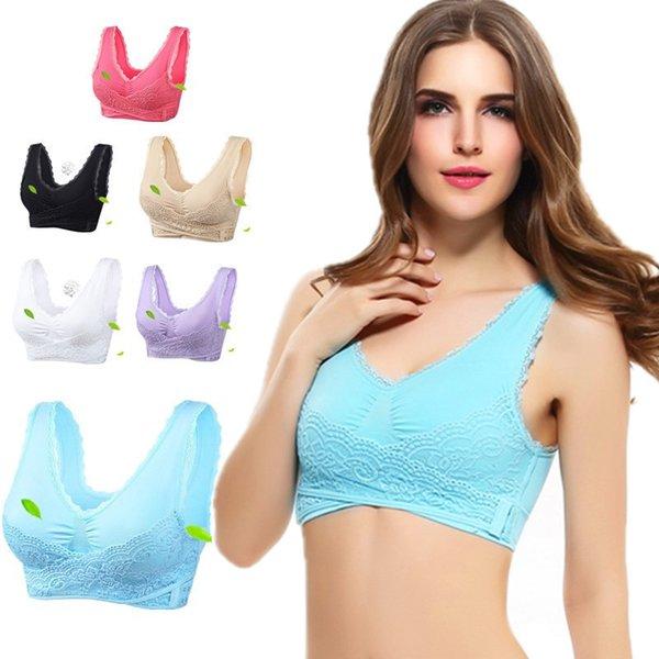 Sexy Women Casual Lace Bralette Padded Bra U back Sleeping Brassiere Fashion Cross Side Closure Wireless Bra Top