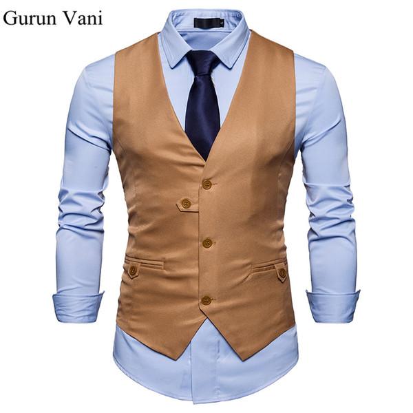 Unique Button Design Robe Gilets Pour Hommes Slim Fit Mens Costume Gilet Mâle Gilet Homme Casual Sans Manches Veste D'affaires