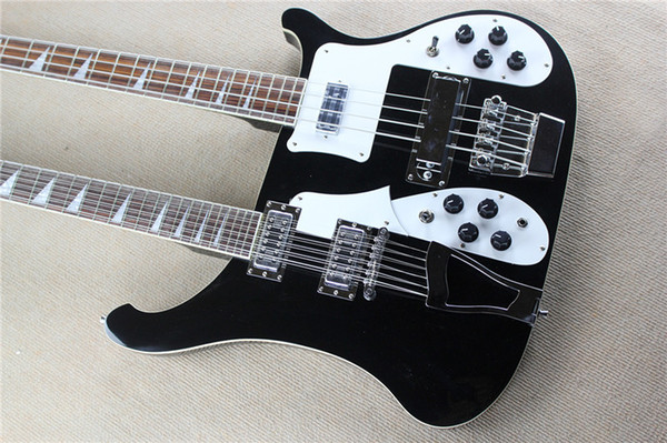 Factory classic black Ricken style double neck electric bass and guitar, 4 + 12 strings, white pickup. customizable. free delivery!