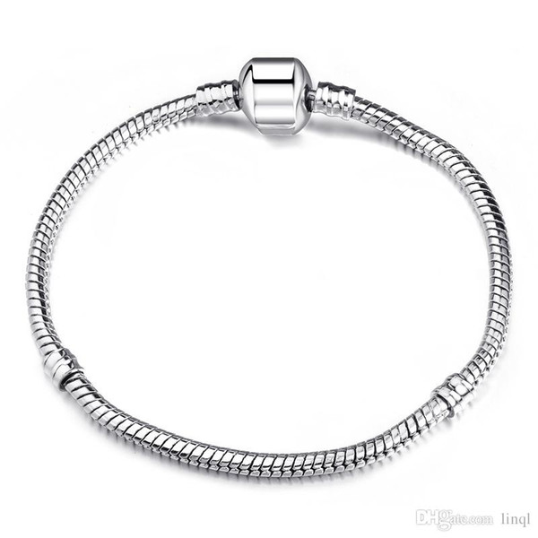 06653ba9b05 Factory Wholesale 925 Sterling Silver Bracelets 3mm Snake Chain Fit Pandora  Charm Bead Bangle Bracelet Jewelry