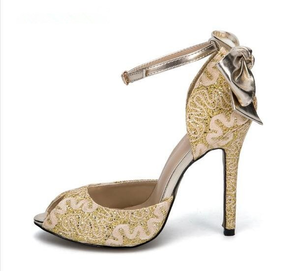 Luxury Bowtie Wedding Shoes Embroider Gold Flower Bling Crystal Stud Sexy Peep Toe High Heels Pumps Buckle Strap Formal Dress Shoes Women